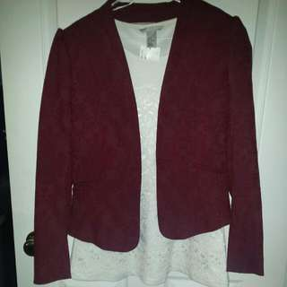Maroon/Red Lace Blazer & White Lace Sleeveless Top