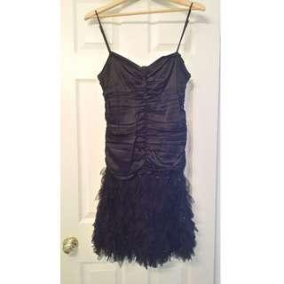 Black Silk/Feather/Sequin Dress