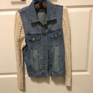 Denim Jacket With Knit Sweater Sleeves