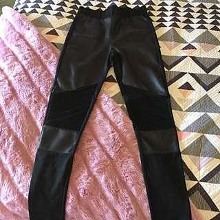 Size 10 Faux Leather Panel Pants Black