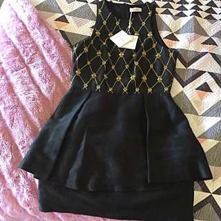Size 10 Sass And Bide Dress Black With Gold Detailing