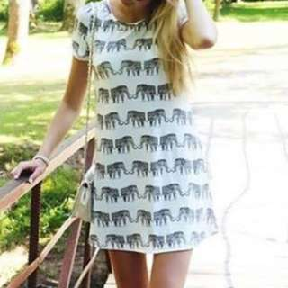 Elephant Print Tshirt Dress