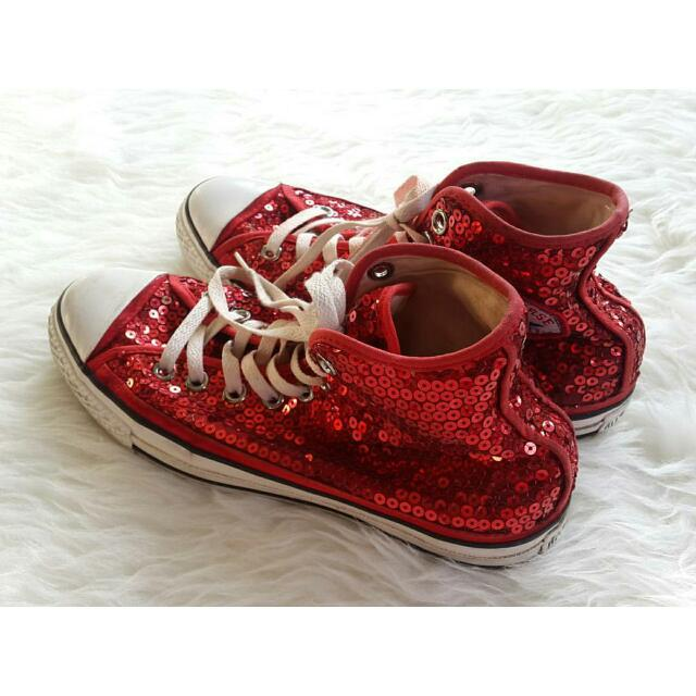 100% AUTHENTIC Converse with red sequins (limited edition)