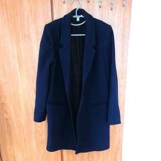 ZARA-羊毛大衣外套 (深藍)