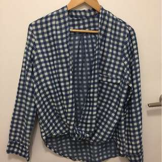 Blue gingham front tied top
