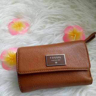 Fossil Dompet Dawson Camel Leather, I Heart Sale