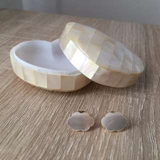 Mother of Pearl Jewellery Box and Cloud Earrings
