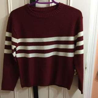 Maroon Striped Knitted Sweatshirt