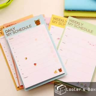 Weekly & Daily Schedule Planner Animal Sticky Note (AAC)