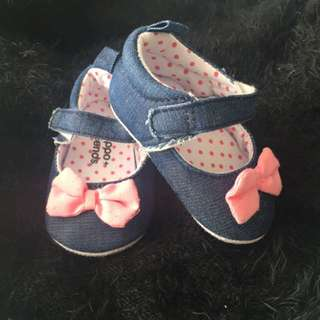 Baby Denim Bow Flats