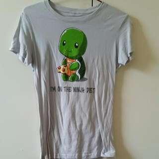 "Light Grey Turtle T T-shirt ""I'm On The Ninja Diet"" - Size Women's Medium"