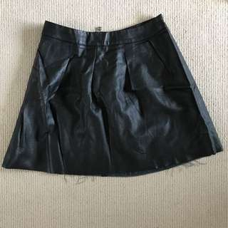 Black Pleather Skirt Size 8
