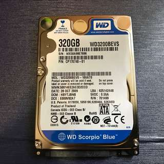 "Western Digital WD3200BEVS 2.5"" 320GB IDE Hard Drive HDD NoteBook (100% Work)"