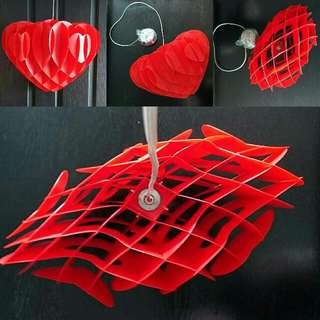 Gorgeous 3D Heart Shaped Pendant Lights,  2 Red 2 Blue And 2 Yellow Available, Brand New, Perfect For A Child Bedroom Or Playroom