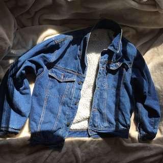 Vintage Denim Sheep Fur Jacket