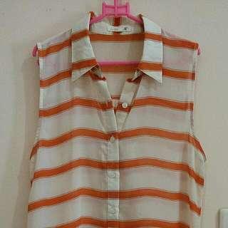 Baju Chiffon Stripes Orange