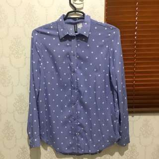 H&M Divided Polkadot Shirt Blue