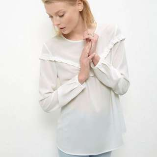 [REPRICED]New Look White Ruffle Trim Long Sleeve Top