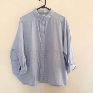 Monki Denim Chambray Shirt Size M