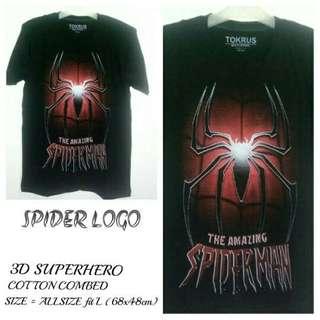 T Shirt Kaos 3D Superhero | SPIDER LOGO