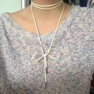 White Choker String Necklace