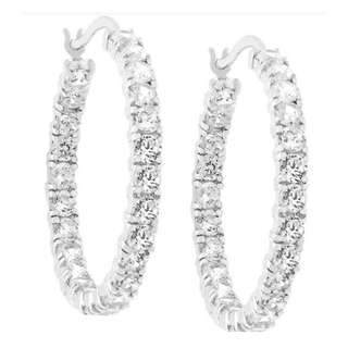 Heavy Encrusted Hoop Earrings -White Gold Round Women Jewelry