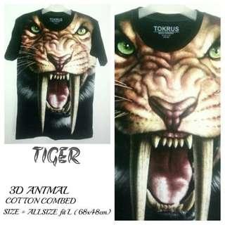 T Shirt Kaos 3D Animal | TIGER