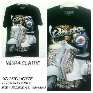 T Shirt Kaos 3D Otomotif | VESPA CLASSIC