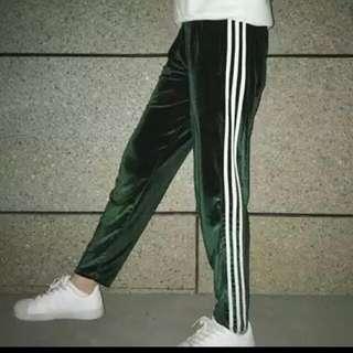 全新 絲絨三條運動褲
