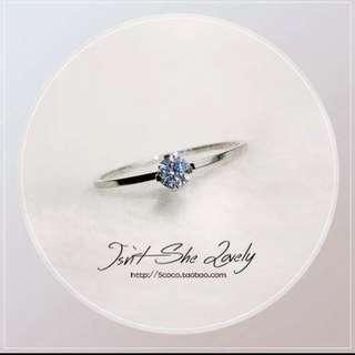 包郵簡約韓國進口鑽訂婚戒女鍍玫瑰金不掉色鈦鋼飾品禮物
