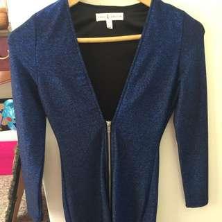 Low Cut Navy Sparkly Blue Short Dress