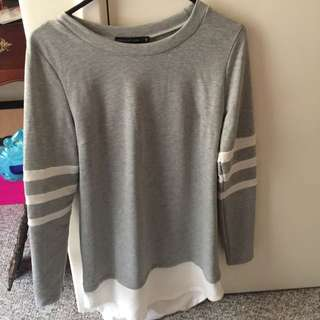 Long Sleeve Over Size Shirt Dress Grey And White