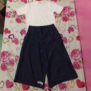 Turtle Neck Top And Culottes Pants