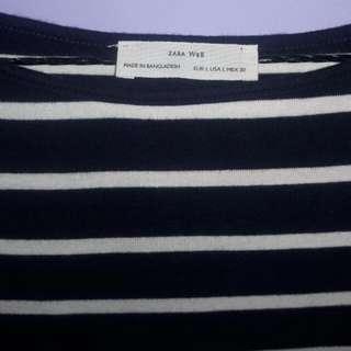 Kaos Zara W&B Strips Biru Putih
