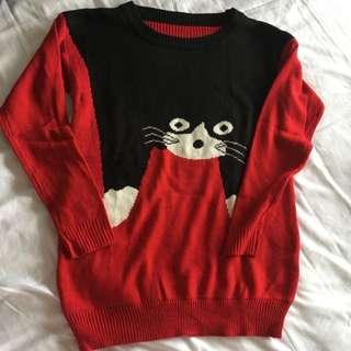 Cute Japan Cat Pullover