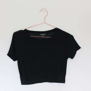 Topshop ribbed black crop top