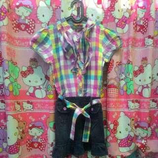 Baju dress anak kotak2