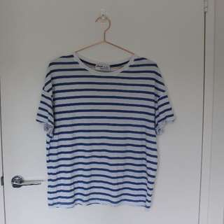 Zara TRF blue stripe t-shirt