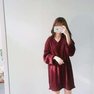 (全新)酒紅針織長裙❤️