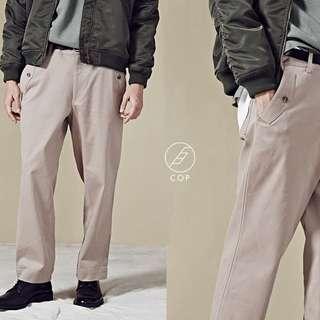 Plain-me彈性磨毛多口袋寬版長褲