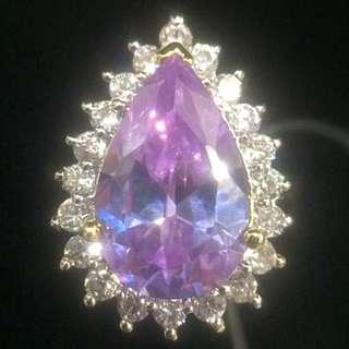 淡紫色復古寶石戒指