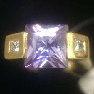 瑕疵淡紫色復古戒指