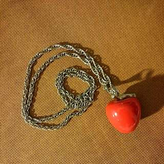 Long Chain Apple Necklace
