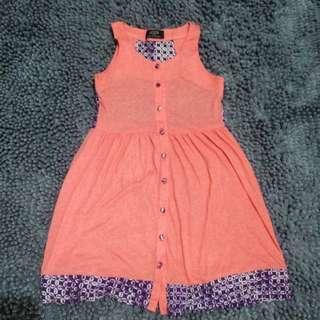 Peach Dress With Batik