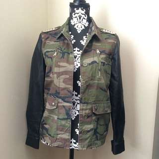 (Worn Twice) Camo Print Studded Jacket with Faux Leather Sleeve