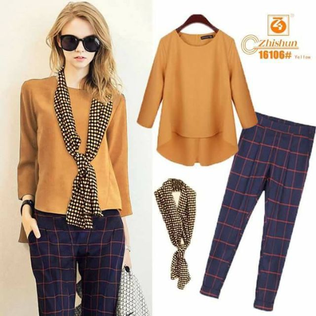 #594 Casual Plain and Plaid Top and Pants Terno with Scarf