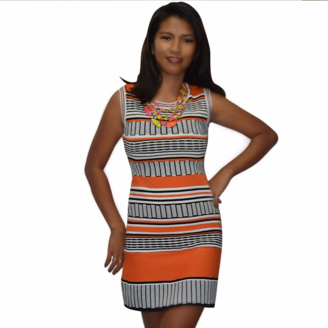 #595 Strips and Stripes Knitted Bodycon Dress