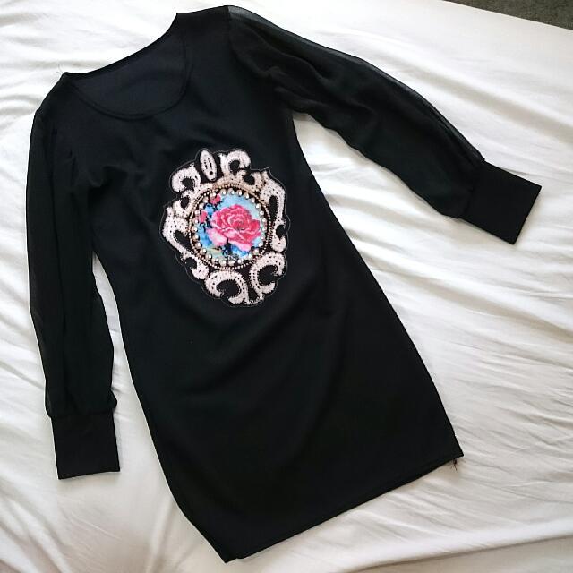 黑色透紗長袖連身裙