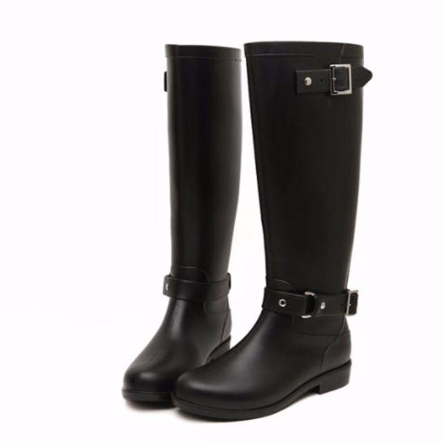 高筒雨靴防水機車女靴子時尚長靴-黑