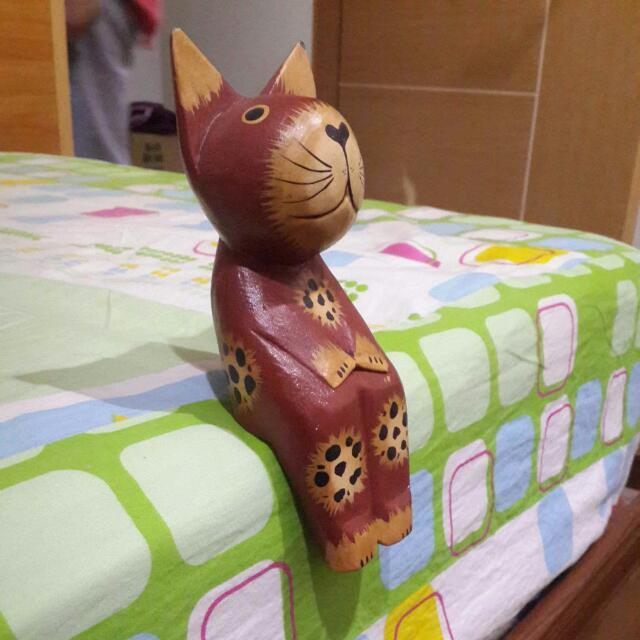 荷蘭帶回 木板櫃子裝飾 坐著的貓